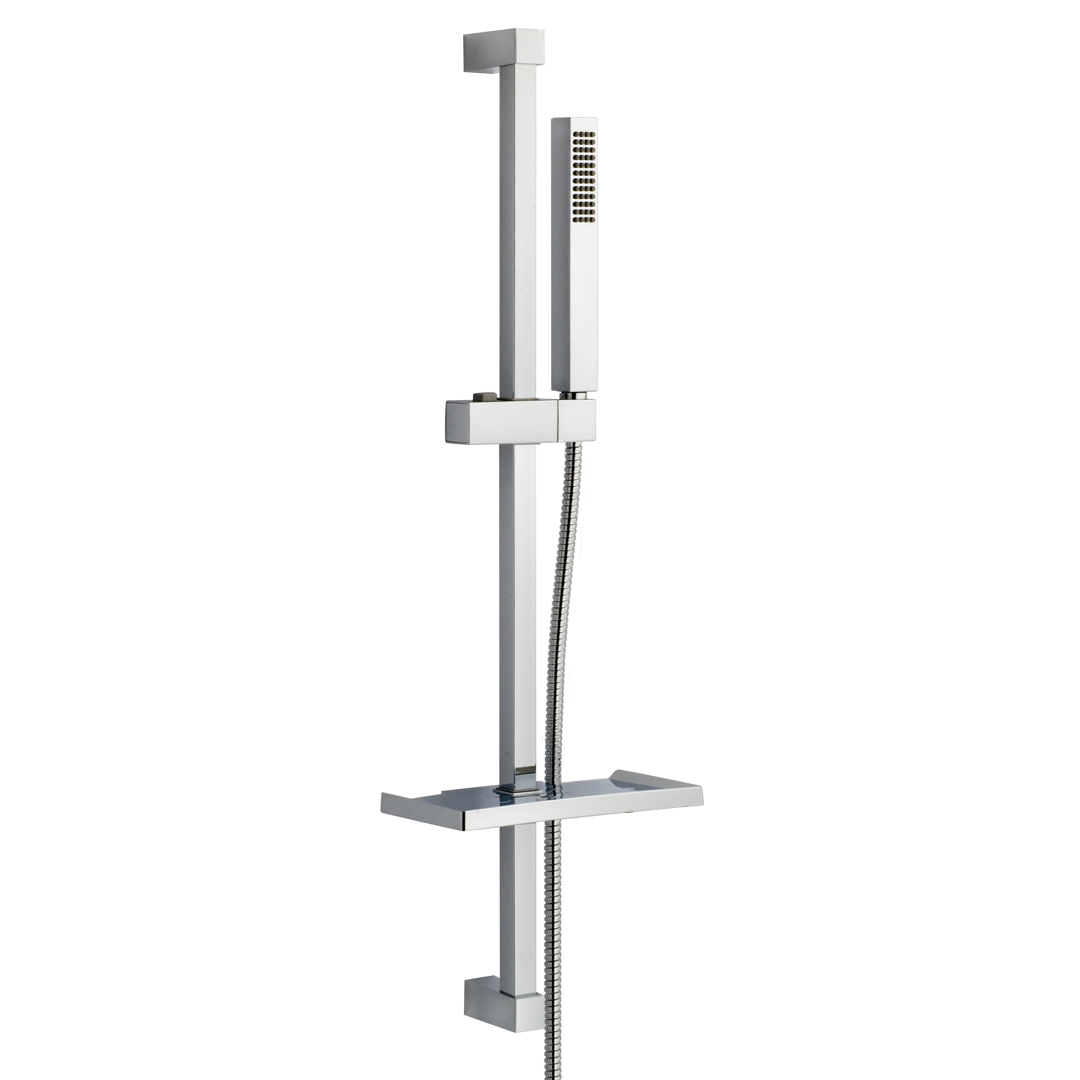 Immagine HD Square brass slide bar L=830mm with soap holder, ABS hand shower and metal flex L=1500mm