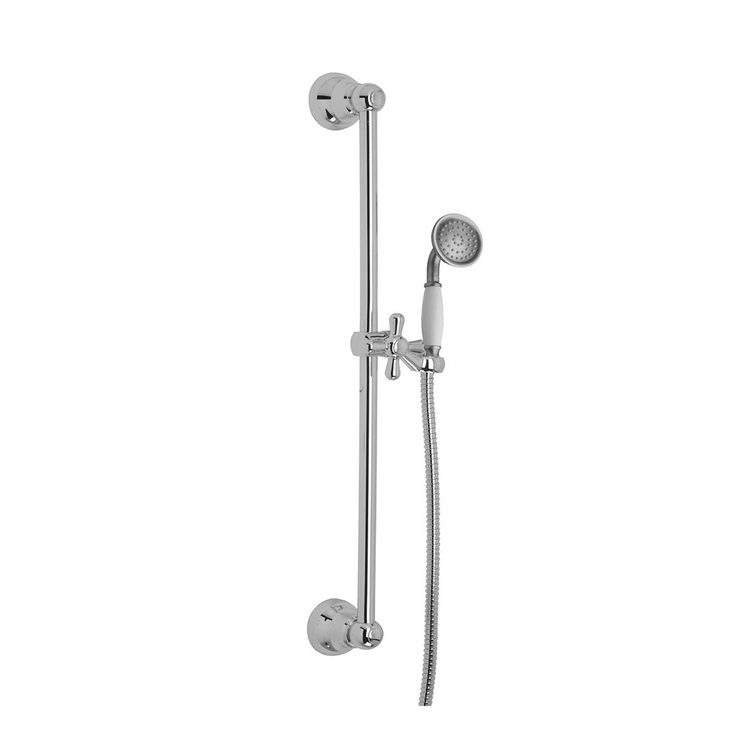 Immagine HD ELIZABETH brass slide bar L=620mm with 1 jet hand shower and metal flex L=1500mm